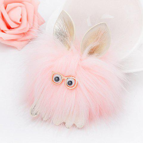 Outfit Cartoon Fuzzy Puff Ball Keychain - PINK  Mobile