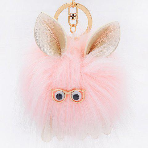 Shops Cartoon Fuzzy Puff Ball Keychain PINK