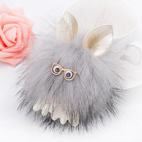 Outfit Cartoon Fuzzy Puff Ball Keychain GRAY