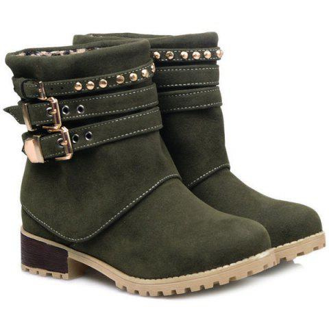 Outfit Metal Buckle Slip On Suede Ankle Boots GREEN 39