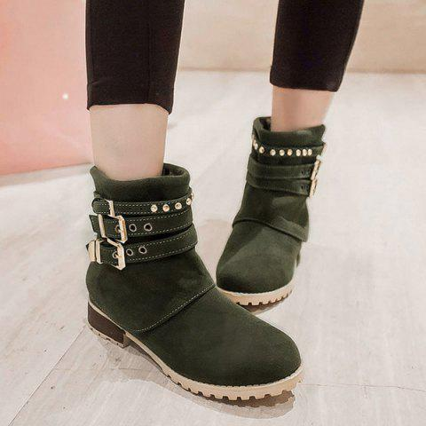 Online Metal Buckle Slip On Suede Ankle Boots - 39 GREEN Mobile