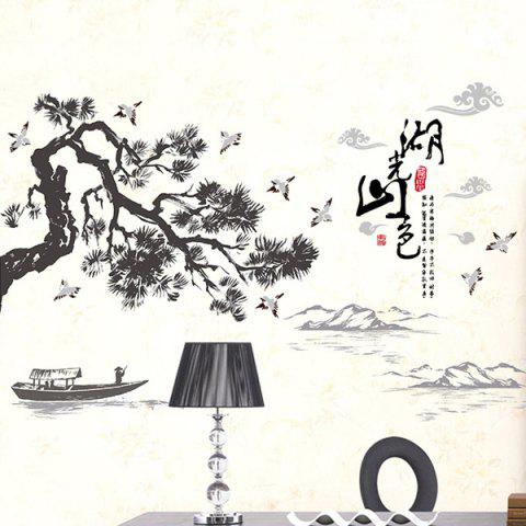Hot Landscape of Lakes and Hills Ink Painting Removable PVC Wall Stickers - BLACK  Mobile