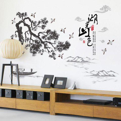 Shop Landscape of Lakes and Hills Ink Painting Removable PVC Wall Stickers - BLACK  Mobile