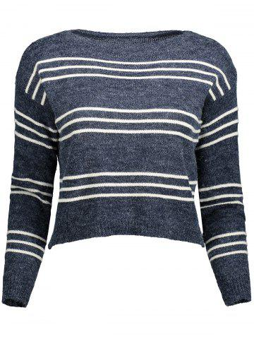 Discount Striped Cropped Long Sleeve Sweater