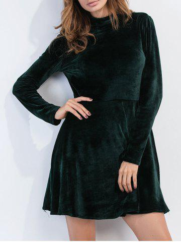 Open Back Velvet Long Sleeve Dress - Blackish Green - S