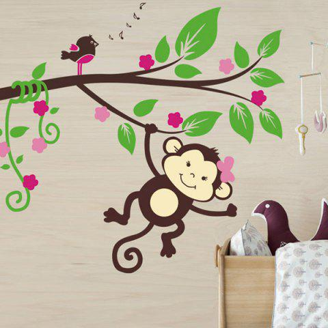 Cartoon Monkey Animal Wall Mural Stickers For Kid's Rooms - Colorful - 55*13cm
