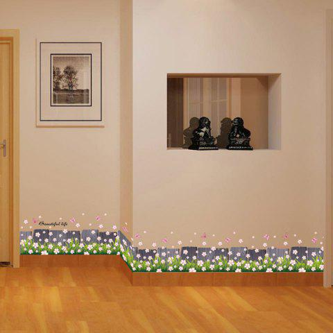 Flower Fence Design Room Skirting Line Personalised Vinyl Wall Stickers - Pink - 57*14cm