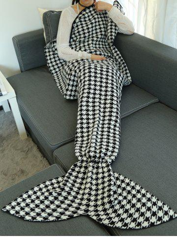 Houndstooth Design Knitted Wrap Throw Mermaid Tail Blanket - Black - M
