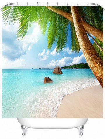 Sea Beach Waterproof Shower Curtain with Hooks - Colormix - 180cm*180cm