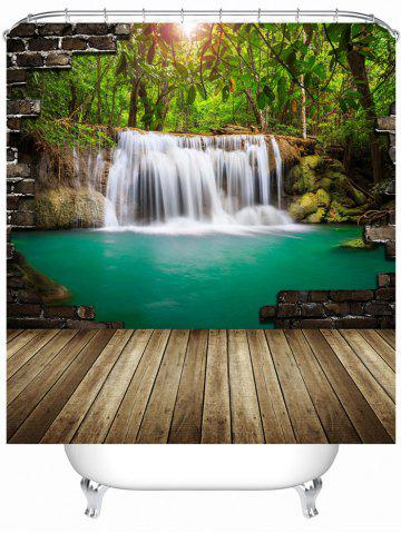 Online Nature Landscape Waterproof Shower Curtain with Hooks COLORMIX