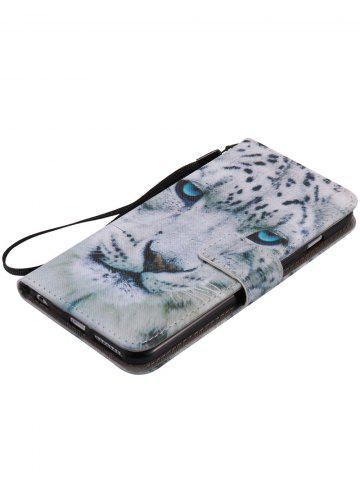 Cheap PU Leather Phone Case with White Cheetah Colored Drawing For iPhone - FOR IPHONE 7 PLUS WHITE Mobile