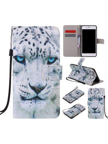 Store PU Leather Phone Case with White Cheetah Colored Drawing For iPhone - FOR IPHONE 7 PLUS WHITE Mobile