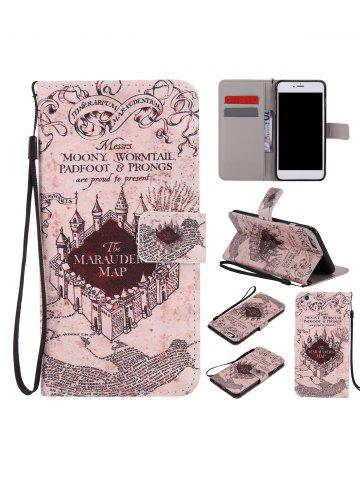 Buy PU Leather Phone Case with Vintage Castle Colored Drawing For iPhone - FOR IPHONE 6 PLUS / 6S PLUS LIGHT BROWN Mobile