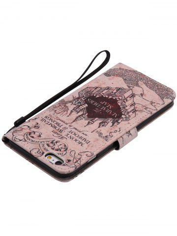 Fancy PU Leather Phone Case with Vintage Castle Colored Drawing For iPhone - FOR IPHONE 6 PLUS / 6S PLUS LIGHT BROWN Mobile