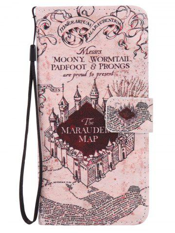 Cheap PU Leather Phone Case with Vintage Castle Colored Drawing For iPhone - FOR IPHONE 7 LIGHT BROWN Mobile