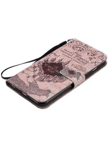 Fancy PU Leather Phone Case with Vintage Castle Colored Drawing For iPhone - FOR IPHONE 7 LIGHT BROWN Mobile