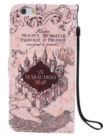 Sale PU Leather Phone Case with Vintage Castle Colored Drawing For iPhone - FOR IPHONE 7 LIGHT BROWN Mobile