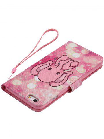 Trendy PU Leather Phone Case with Cartoon Little Elephant Colored Drawing For iPhone - FOR IPHONE 7 PLUS PINK Mobile