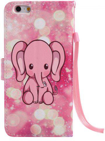 Outfits PU Leather Phone Case with Cartoon Little Elephant Colored Drawing For iPhone - FOR IPHONE 7 PLUS PINK Mobile