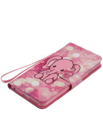 New PU Leather Phone Case with Cartoon Little Elephant Colored Drawing For iPhone - FOR IPHONE 7 PLUS PINK Mobile