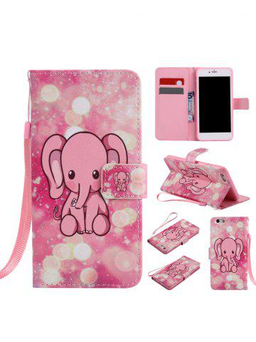 Hot PU Leather Phone Case with Cartoon Little Elephant Colored Drawing For iPhone - FOR IPHONE 7 PLUS PINK Mobile