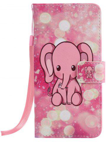 Cheap PU Leather Phone Case with Cartoon Little Elephant Colored Drawing For iPhone - FOR IPHONE 7 PLUS PINK Mobile