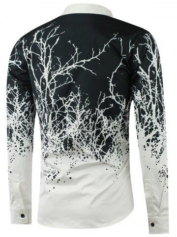 Outfits Turndown Collar Tree Branch Printed Shirt - WHITE XL Mobile