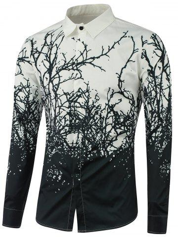 Trendy Turndown Collar Tree Branch Printed Shirt