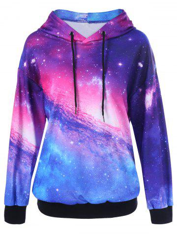 Chic Drop Shoulder Galaxy Hoodie COLORMIX M
