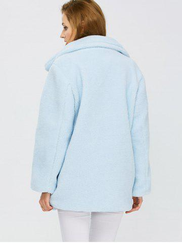 Buy Fuzzy Buttoned Coat - S LIGHT BLUE Mobile