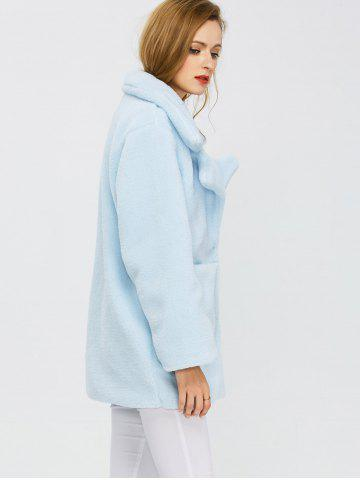 Store Fuzzy Buttoned Coat - S LIGHT BLUE Mobile