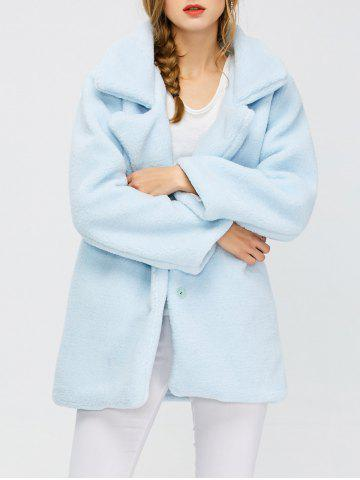 Cheap Fuzzy Buttoned Coat - S LIGHT BLUE Mobile