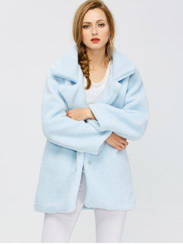 Outfits Fuzzy Buttoned Coat - S LIGHT BLUE Mobile