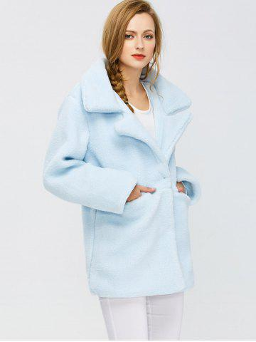 Fancy Fuzzy Buttoned Coat - S LIGHT BLUE Mobile