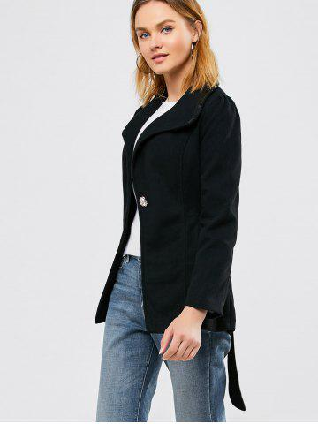 Store Panel Wool Blend Belted Coat - S BLACK Mobile
