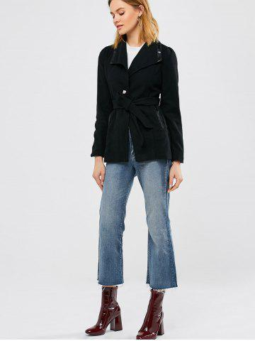 Outfit Panel Wool Blend Belted Coat - S BLACK Mobile
