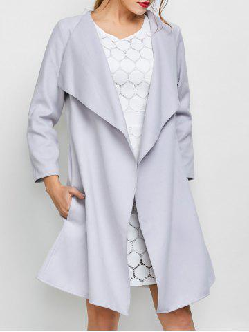 Buy A Line Long Draped Trench Coat GREY WHITE M