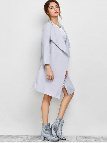 Chic A Line Long Draped Trench Coat - M GREY WHITE Mobile
