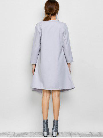 Latest A Line Long Draped Trench Coat - M GREY WHITE Mobile