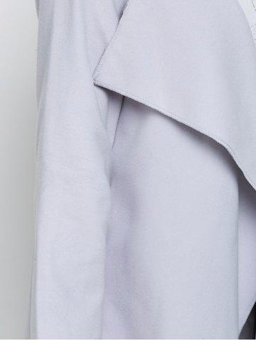 Trendy A Line Long Draped Trench Coat - S GREY WHITE Mobile