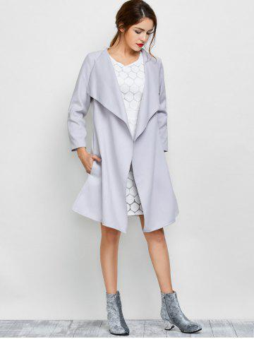 Fancy A Line Long Draped Trench Coat - S GREY WHITE Mobile