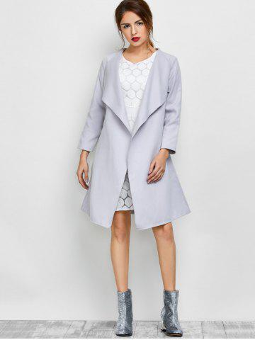 Chic A Line Long Draped Trench Coat - S GREY WHITE Mobile