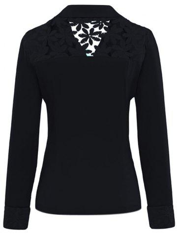 Outfits Lace Insert Lapel Blazer With Pocket - BLACK L Mobile