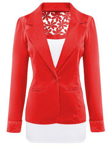 Chic Lace Insert Lapel Blazer With Pocket