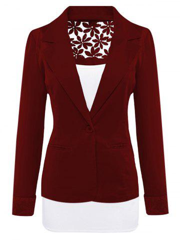 Outfit Lace Insert Lapel Blazer With Pocket - WINE RED XL Mobile