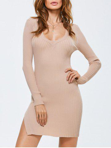 Side Slit Bodycon Ribbed Sweater Dress Abricot TAILLE MOYENNE