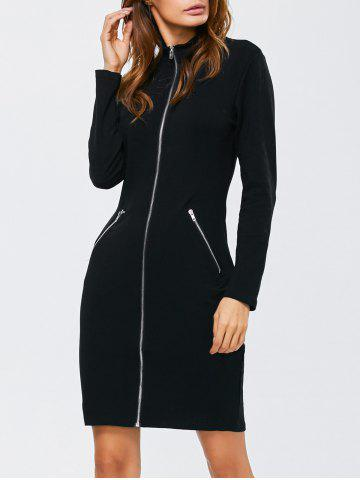 Hot Zipped Front High Neck Long Sleeve Bodycon Dress BLACK L