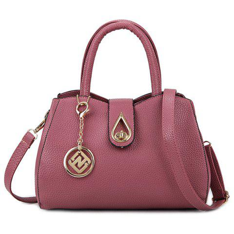 Textured Faux Leather Pendant Handbag - PINK