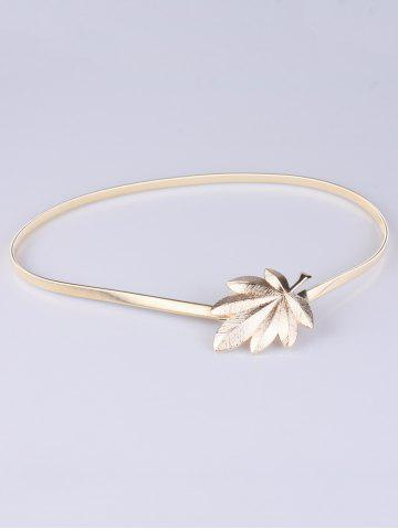 Shop Alloy Leaf Skinny Belt - GOLDEN  Mobile