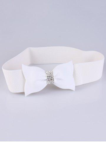 Outfit Rhinestone Embellished Bow Waist Belt - WHITE  Mobile